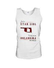 UTAH GIRL LIVING IN OKLAHOMA WORLD Unisex Tank thumbnail