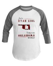 UTAH GIRL LIVING IN OKLAHOMA WORLD Baseball Tee thumbnail