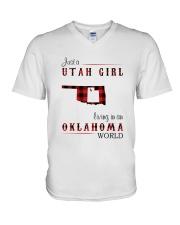 UTAH GIRL LIVING IN OKLAHOMA WORLD V-Neck T-Shirt thumbnail