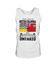 LIVE IN BRITISH COLUMBIA BEGAN IN ONTARIO ROOT Unisex Tank thumbnail
