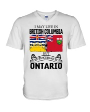 LIVE IN BRITISH COLUMBIA BEGAN IN ONTARIO ROOT V-Neck T-Shirt thumbnail