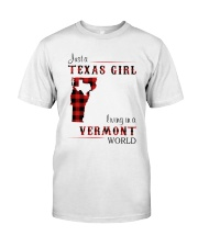 TEXAS GIRL LIVING IN VERMONT WORLD Classic T-Shirt thumbnail