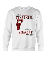 TEXAS GIRL LIVING IN VERMONT WORLD Crewneck Sweatshirt thumbnail