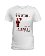 TEXAS GIRL LIVING IN VERMONT WORLD Ladies T-Shirt tile