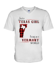 TEXAS GIRL LIVING IN VERMONT WORLD V-Neck T-Shirt tile
