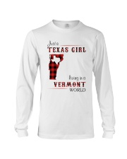 TEXAS GIRL LIVING IN VERMONT WORLD Long Sleeve Tee tile
