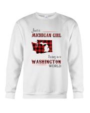 MICHIGAN GIRL LIVING IN WASHINGTON WORLD Crewneck Sweatshirt thumbnail