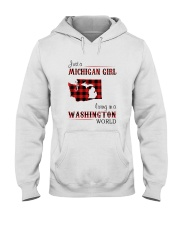 MICHIGAN GIRL LIVING IN WASHINGTON WORLD Hooded Sweatshirt thumbnail