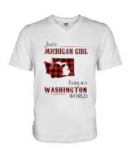 MICHIGAN GIRL LIVING IN WASHINGTON WORLD V-Neck T-Shirt thumbnail