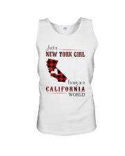 NEW YORK GIRL LIVING IN CALIFORNIA WORLD Unisex Tank thumbnail