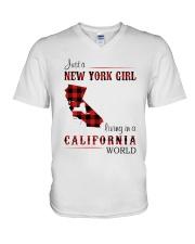 NEW YORK GIRL LIVING IN CALIFORNIA WORLD V-Neck T-Shirt thumbnail