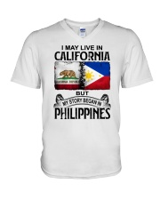 LIVE IN CALIFORNIA BEGAN IN PHILIPPINES V-Neck T-Shirt tile