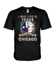 I MAY LIVE IN TEXAS BUT MY STORY IN CHICAGO V-Neck T-Shirt thumbnail