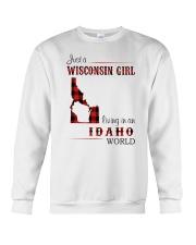 WISCONSIN GIRL LIVING IN IDAHO WORLD Crewneck Sweatshirt thumbnail