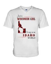 WISCONSIN GIRL LIVING IN IDAHO WORLD V-Neck T-Shirt thumbnail