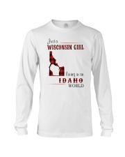 WISCONSIN GIRL LIVING IN IDAHO WORLD Long Sleeve Tee thumbnail