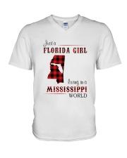 FLORIDA GIRL LIVING IN MISSISSIPPI WORLD V-Neck T-Shirt thumbnail