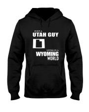 JUST A UTAH GUY LIVING IN WYOMING WORLD Hooded Sweatshirt thumbnail