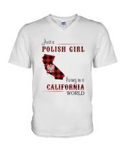 POLISH GIRL LIVING IN CALIFORNIA WORLD V-Neck T-Shirt thumbnail