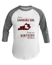 LOUISIANA GIRL LIVING IN KENTUCKY WORLD Baseball Tee thumbnail
