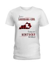 LOUISIANA GIRL LIVING IN KENTUCKY WORLD Ladies T-Shirt thumbnail