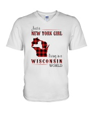 NEW YORK GIRL LIVING IN WISCONSIN WORLD V-Neck T-Shirt thumbnail