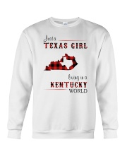 TEXAS GIRL LIVING IN KENTUCKY WORLD Crewneck Sweatshirt thumbnail