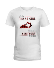 TEXAS GIRL LIVING IN KENTUCKY WORLD Ladies T-Shirt thumbnail