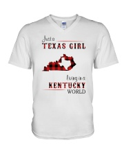 TEXAS GIRL LIVING IN KENTUCKY WORLD V-Neck T-Shirt thumbnail