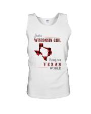 WISCONSIN GIRL LIVING IN TEXAS WORLD Unisex Tank thumbnail
