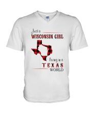 WISCONSIN GIRL LIVING IN TEXAS WORLD V-Neck T-Shirt thumbnail