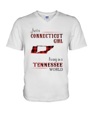 CONNECTICUT GIRL LIVING IN TENNESSEE WORLD V-Neck T-Shirt thumbnail
