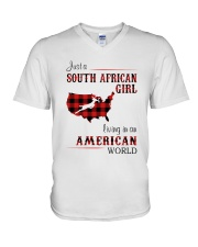 SOUTH AFRICAN GIRL LIVING IN AMERICAN WORLD V-Neck T-Shirt thumbnail