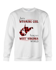 WYOMING GIRL LIVING IN WEST VIRGINIA WORLD Crewneck Sweatshirt thumbnail