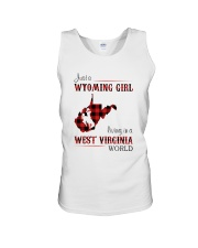 WYOMING GIRL LIVING IN WEST VIRGINIA WORLD Unisex Tank thumbnail
