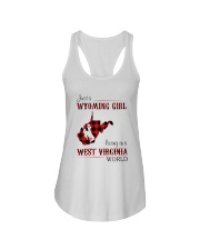WYOMING GIRL LIVING IN WEST VIRGINIA WORLD Ladies Flowy Tank thumbnail