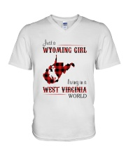 WYOMING GIRL LIVING IN WEST VIRGINIA WORLD V-Neck T-Shirt thumbnail