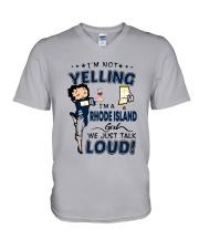 I'M A RHODE ISLAND GIRL WE JUST TALK LOUD V-Neck T-Shirt thumbnail