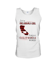 OKLAHOMA GIRL LIVING IN CALIFORNIA WORLD Unisex Tank tile