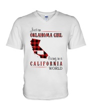 OKLAHOMA GIRL LIVING IN CALIFORNIA WORLD V-Neck T-Shirt tile