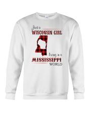WISCONSIN GIRL LIVING IN MISSISSIPPI WORLD Crewneck Sweatshirt thumbnail