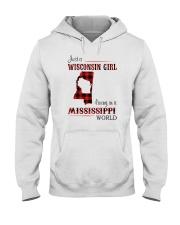 WISCONSIN GIRL LIVING IN MISSISSIPPI WORLD Hooded Sweatshirt thumbnail