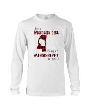 WISCONSIN GIRL LIVING IN MISSISSIPPI WORLD Long Sleeve Tee thumbnail