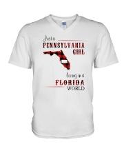 PENNSYLVANIA GIRL LIVING IN FLORIDA WORLD V-Neck T-Shirt thumbnail