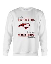 KENTUCKY GIRL LIVING IN NORTH CAROLINA WORLD Crewneck Sweatshirt thumbnail