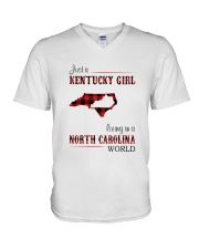 KENTUCKY GIRL LIVING IN NORTH CAROLINA WORLD V-Neck T-Shirt thumbnail