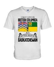 LIVE IN BC IN SASKATCHEWAN ROOT WOMEN V-Neck T-Shirt thumbnail