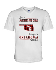 MICHIGAN GIRL LIVING IN OKLAHOMA WORLD  V-Neck T-Shirt thumbnail