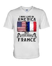 LIVE IN AMERICA BEGAN IN FRANCE V-Neck T-Shirt thumbnail