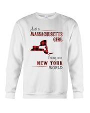 MASSACHUSETTS GIRL LIVING IN NEW YORK WORLD Crewneck Sweatshirt thumbnail